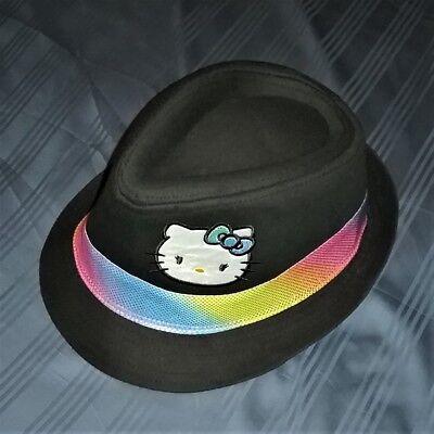 NEW 2012 Girl's Youth Size HELLO KITTY Fedora Hat w/ Iridescent Rainbow Band