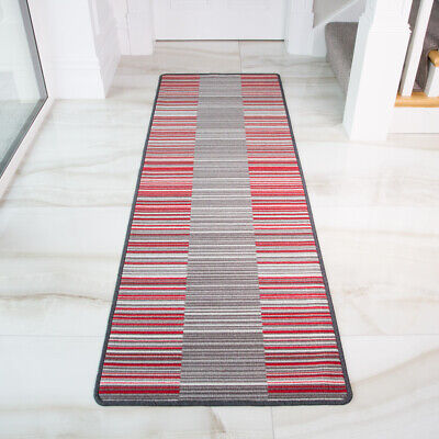 Red Stripe Teppich (Vibrant Red Stripe Lines Non Slip Kitchen Rug Mat Hard Wearing Hallway Doormat)