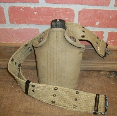 Vintage Old Canteen with Cover and Belt - Made in Japan