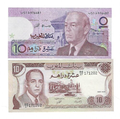 Morocco - 1985, 10 Dirhams & 1987, 10 Dirhams   LOT OF 2 NOTES !!