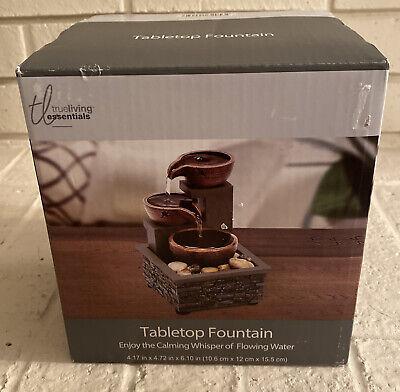 True Living Essentials Tabletop Water Fountain Indoor Decor Calming Water Sounds