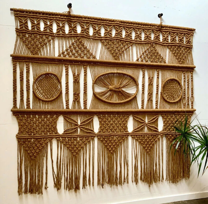 Vintage Large Macrame Wall Art Woven Tapestry Boho Mid Century Jute 9' x 7 1/2'