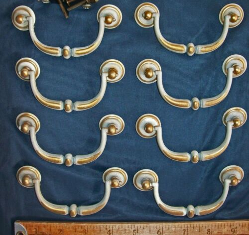 "Lot of 8 Vintage Drawer Pulls Bail Grayish White & Brass Color 3 3/8"" c-c"