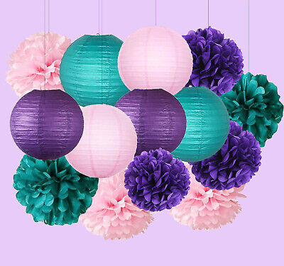Lanterns For Party Decorations (Paper Lanterns for Birthday Mermaid Party Baby Shower Decor Tissue Paper Pom)