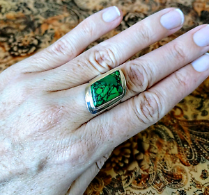 Green Mojave Turquoise Ring, sz 8 US, Sterling Silver, GENUINE South Brisbane Brisbane South West Preview
