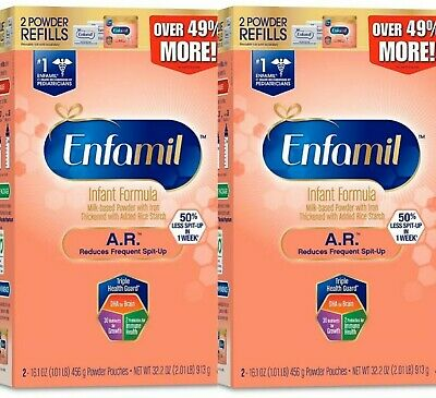 2 Boxes ENFAMIL AR Infant Formula Spit-Up Powder Refill Boxes 4 Pouches NEW