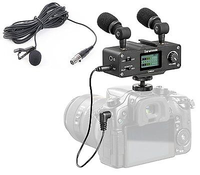 Saramonic DSLR Camera Audio Bundle w/ Mixer, Lavalier, & Dual Stereo Microphone