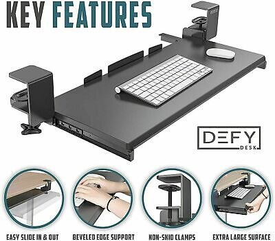 Defy Desk Clamp Computer Keyboard Tray Black Extra Large Surface 26