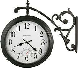 Wall Clock 19.5 Metal Two Sided Indoor Outdoor Thermometer Black Industrial