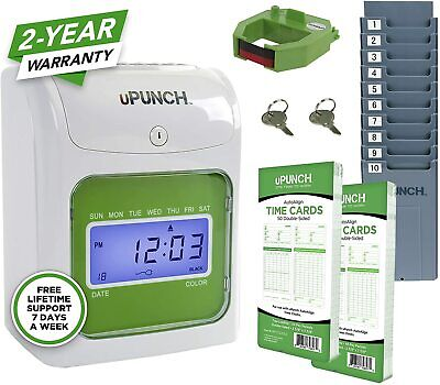 Upunch Starter Time Clock Bundle With 100-cards 1 Time Card Rack 1 Ribbon ...