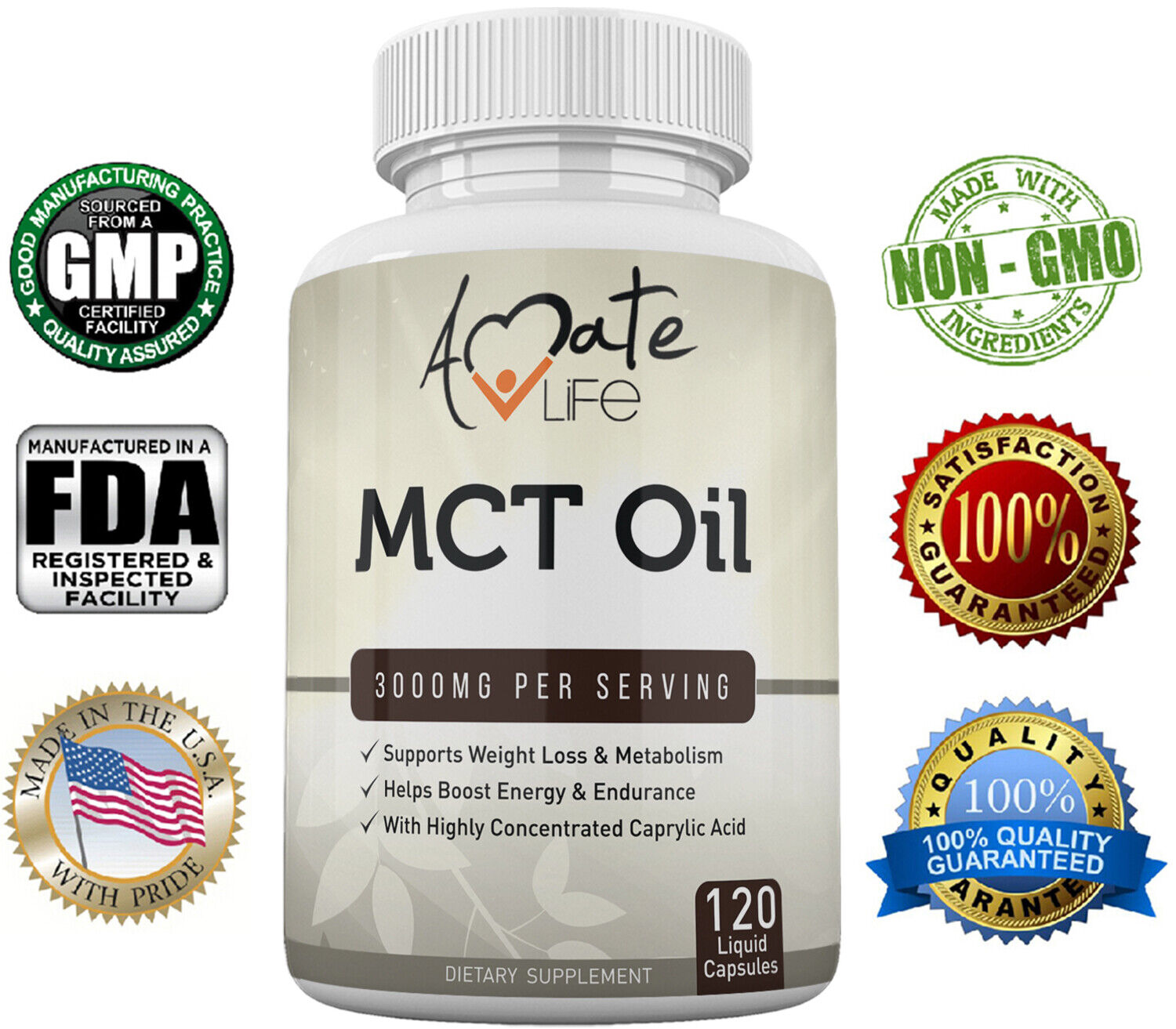 Amate Life 100% Pure MCT Oil Capsules 3000 mg - Metabolism &