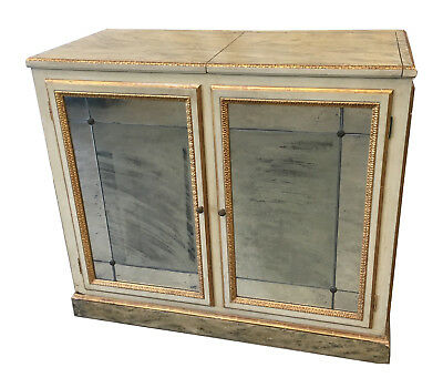 Antique Italian Painted Mirrored Console Buffet Cabinet with Faux Marble Finish