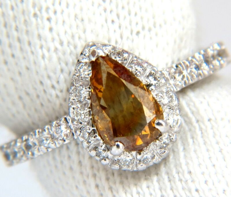 █$5000 1.60ct. Natural Fancy Color Yellow Brown Diamonds Halo Ring 14kt