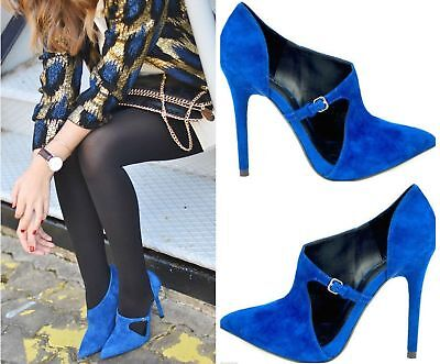 NWT ZARA BLUE HIGH HEEL SUEDE LEATHER POINTED TOE BOOTIE PUMPS 6235/301 US 6