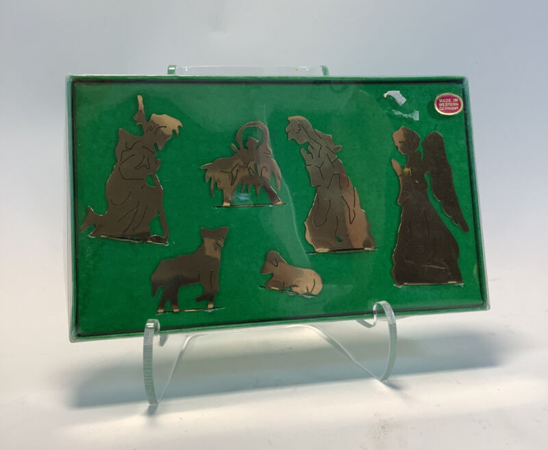Small Gold Toned Metal Nativity Figure Set Made In Western Germany Christmas