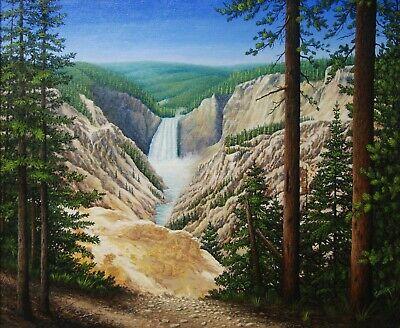 Art,Painting, Yellowstone, Western, Landscape, Waterfall, -