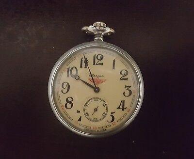 "Vintage Soviet USSR Mechanical MOLNIJA Pocket Watch 18 Ruby Jewels ""Train"" Work"