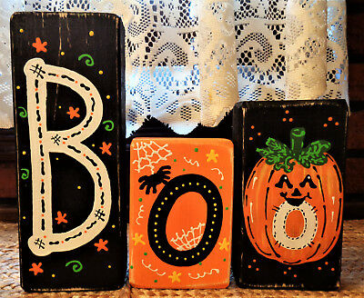 Halloween Wood Blocks (Boo CHUNKY WOOD BLOCKS SET Halloween Fall Autumn Pumpkin Country Primitive)