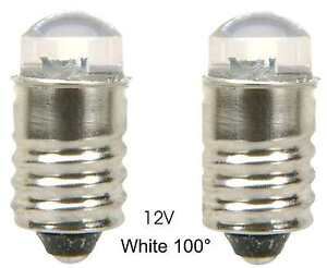 LED Lamp Bulb  12V White  100° MES E10 screw ......... Lot of 2