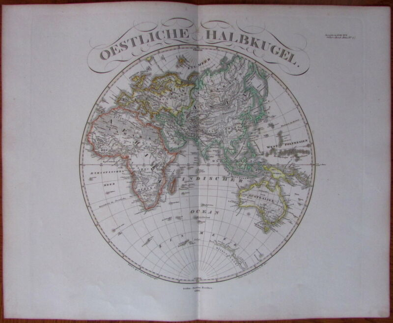 Eastern Hemisphere, Africa, Europe, Asia - 1866 Hand Color Old Stieler World Map