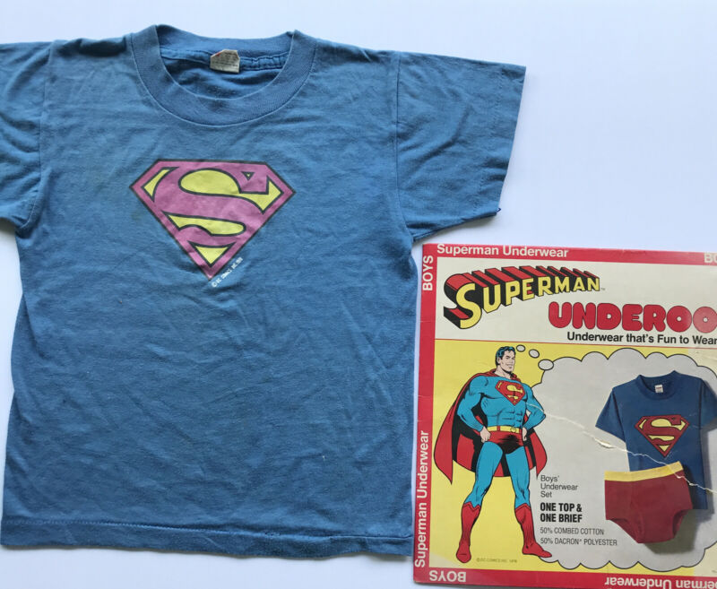 SUPERMAN Underoos DC Comics Boys 6-8 T-Shirt and Box Only