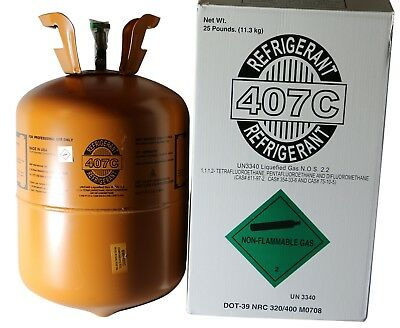 R-407c With Oil For Easy Install Of R22 Refrigerant 25 Lb Cylinder - New 9980