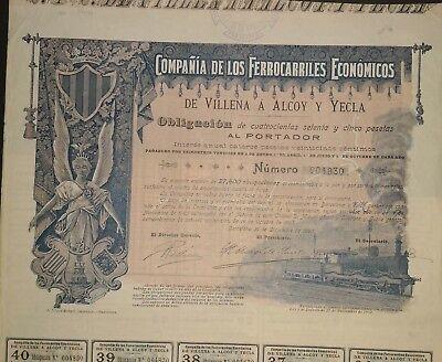 Ferrocarriles Economicos de Vilena a Alcoy y Yecla, 1902, Obligation, DEKO