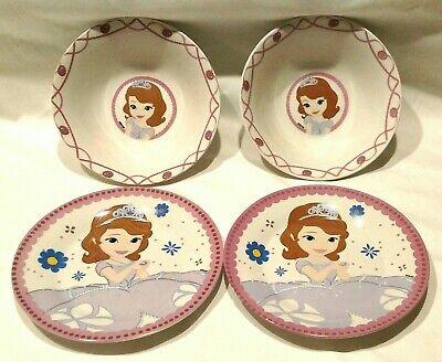 Disney Princess 4 piece set ceramic dinnerware 2 ea 7-1/2