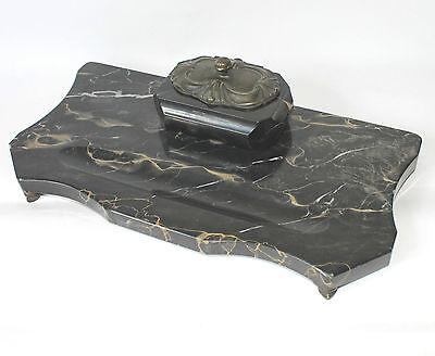 Altes Schreibtischset Schreibtischgarnitur Marmor Schwarz Art Deco Stiftablage