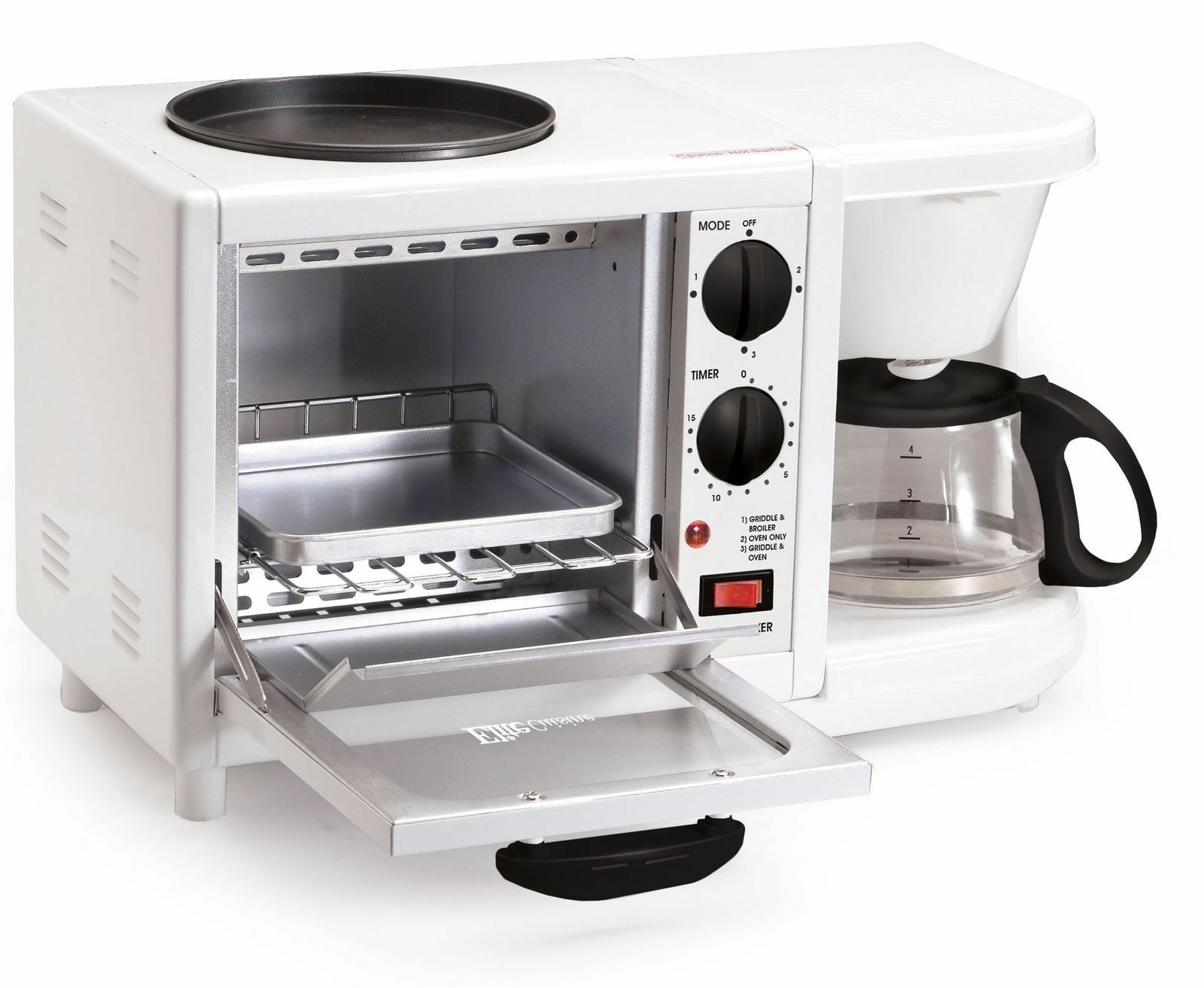 NEW Elite Cuisine 3 in1 Breakfast Station 4Cup Coffee Maker,