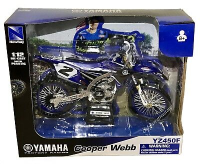 NewRay Yamaha YZ450F Factory Racing Cooper Webb #2 Dirt Bike 1:12 Blue