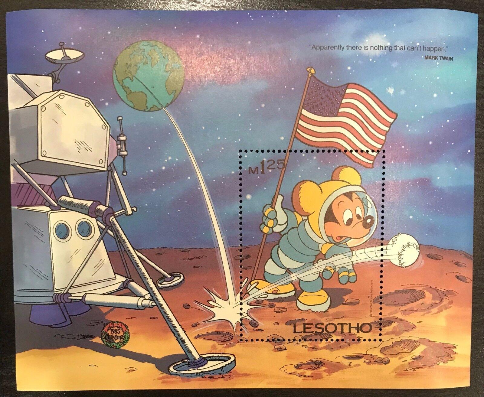 Lesotho- Disney Mickey Visits the Moon- Souvenir Sheet
