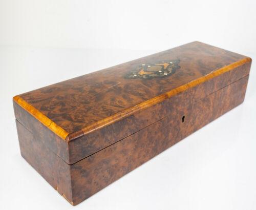 Antique Veneered Marquetry Inlaid Walnut Burlwood Jewelry Dresser Box Silk