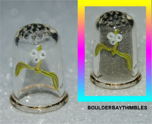PRETTY GLASS THIMBLE - HAND PAINTED TINY WHITE FLOWERS and LEAVES, GOLD RIM
