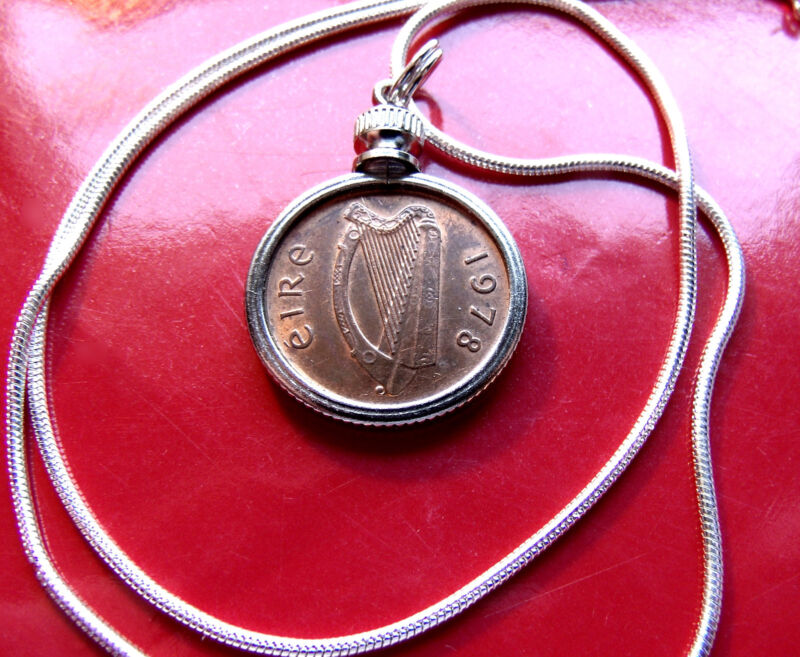 "1978 IRISH Harp Coin 1/2 Penny Pendant on 30"" Sterling Silver Snake Chain. 20mm"