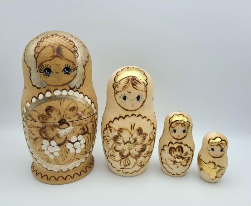 Nesting Matryoshka Russian Dolls Set of 4 Hand Painted Burnt Wood with Gold Gilt