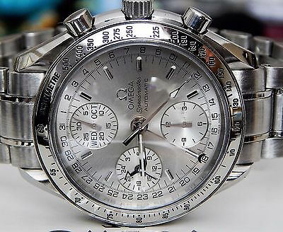 AMAZING OMEGA MENS SPEEDMASTER BOX/PAPERS TRIPLE CALENDAR SILVER DIAL 3523.30