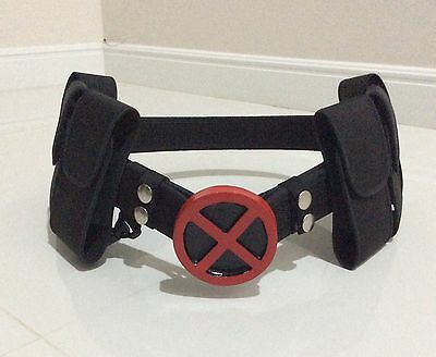 X-Men Red  Belt Buckle  with belt and 6 belt pouches Halloween Costume - Costume Belts