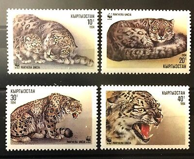 Used, WWF Snow Leopard mnh 4 stamps 1994 Kyrgyzstan #29-32 Cats Panthera Uncia for sale  Shipping to India
