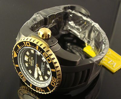 INVICTA MENS BLACK& GOLD SWISS LUME LARGE 53 MM DIVER  BLACK DIAL AND  POLY BAND