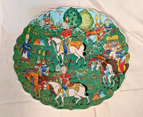"Vintage Kutahya Turkey Handmade Huge Polychrome 15"" Wall Plate Charger"