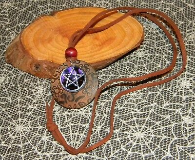 Pentacle with Leather cord Pendant  Glass and wood