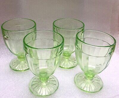 SET of Four (4) Vintage Depression Vaseline Uranium Stemmed Cordial Glasses