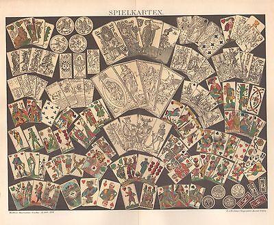 Spielkarten Kartenspiel erklärendes Deckblatt Seidenpapier Lithographie v. 1898