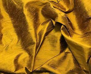 Silk DUPIONI Fabric Gold Black fat 1/4 18