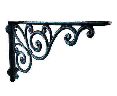Wall Shelf Bracket Ribbon Fleur De Lis Verdigris Cast Iron Brace 11.375
