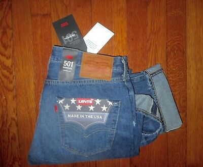 $168 LEVI'S 501 USA MADE CONE MILLS RED LINE SELVEDGE ORIGINAL FIT JEANS 32x32
