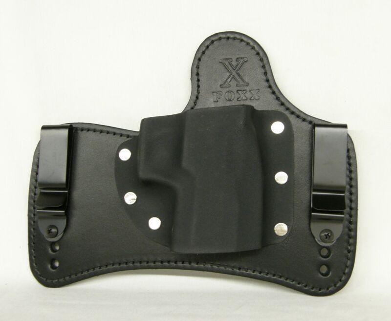 FoxX Holsters Leather & Kydex IWB SOB Hybrid Holster Sig P938 Black LEFT w/pad