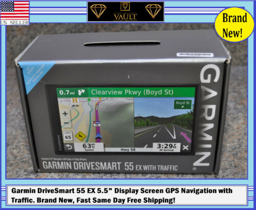 "Garmin DriveSmart 55 EX 5.5"" Display Screen GPS Navigation with Traffic. New!!!"