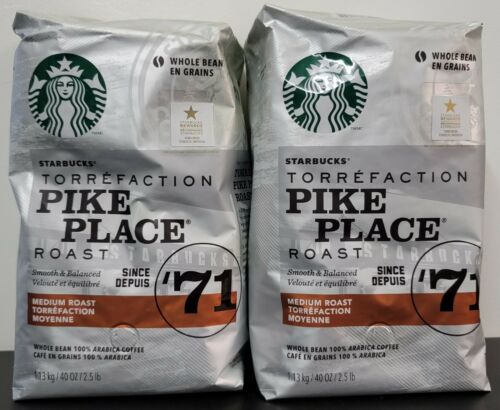 Starbucks Pike Place Medium Roast Whole Bean Coffee 40 oz 2 Pack